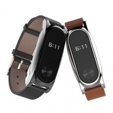 Сменный кожанный браслет для Xiaomi, Mi Band 2 кожа/металл черный
