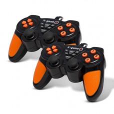 Комплект геймпадов для ПК X-game USB,PCU2305D,Виброрежим,14 кнопок,черно-оранжевый