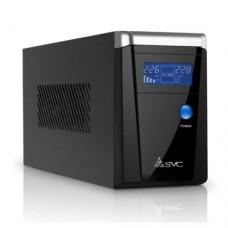 UPS SVC V-650-F-LCD ,Smart USB, Диапазон работы AVR:165-275B, 12B/9 Ач, защита телефонной линии, Чер
