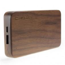 Портативное зарядное устройство Crown, CMPB-6201, 8000mAh, Выход: USB 1*1A, Дерево