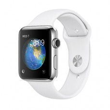 Apple Watch Series 2 42mm Stainless Steel Case with White Sport Band Model A1758 MNPR2GK/A