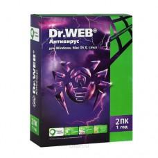 Антивирус Dr.Web 2ПК/1 год (+1 мес в подарок)
